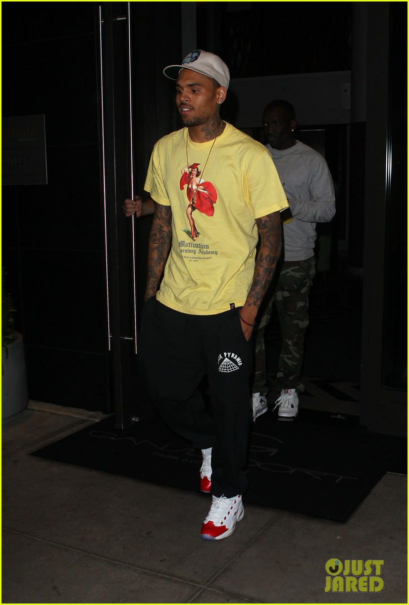 rihanna chris brown gansevoort hotel departure 152732692