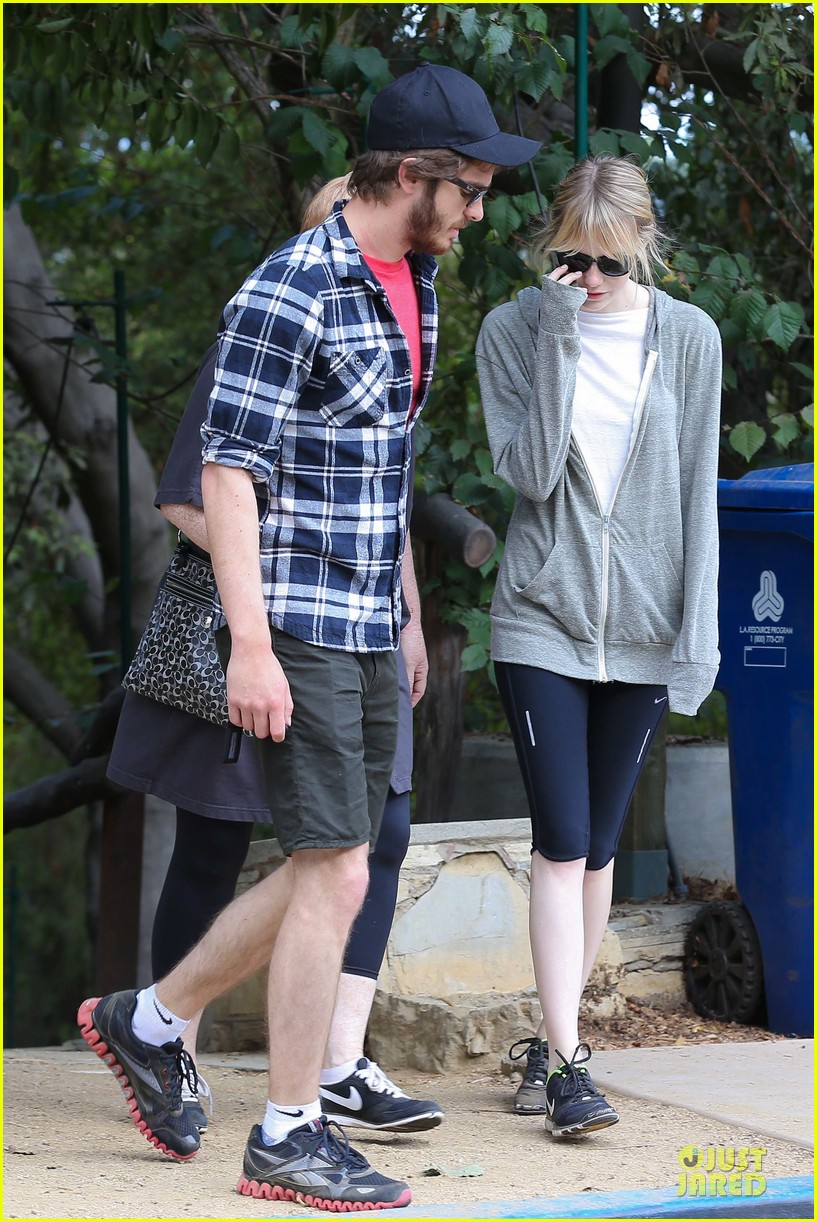 emma stone andrew garfield morning stroll in the hollywood hills 052742113