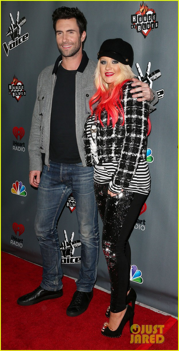 christina aguilera the voice final 12 party with adam levine 022754151