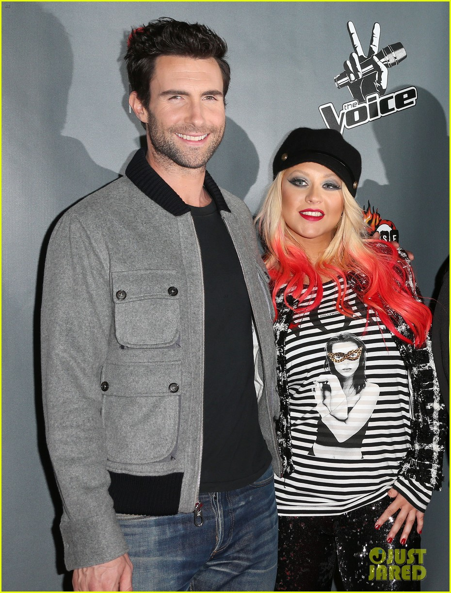 christina aguilera the voice final 12 party with adam levine 042754153