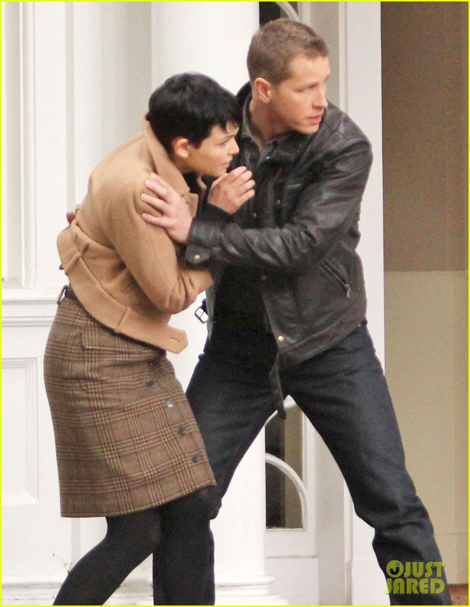 josh dallas protects ginnifer goodwin on once upon a time set 062749341