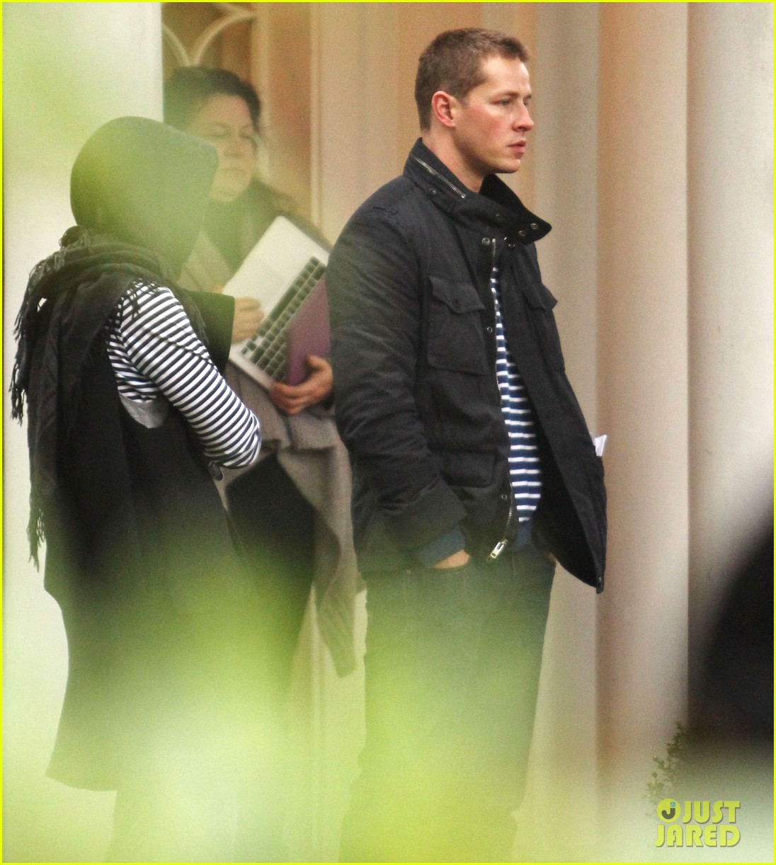 josh dallas protects ginnifer goodwin on once upon a time set 132749348