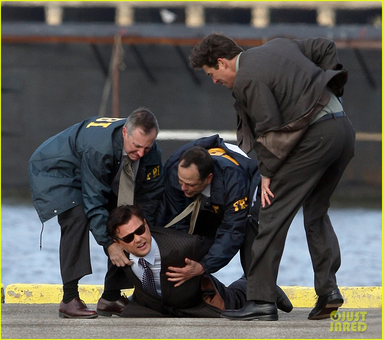 leonardo dicaprio arrested on wolf of wall street set 16