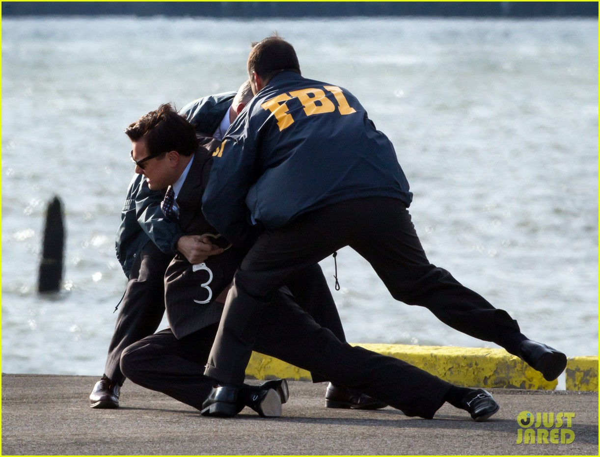 Leonardo dicaprio arrested on wolf of wall street set 18