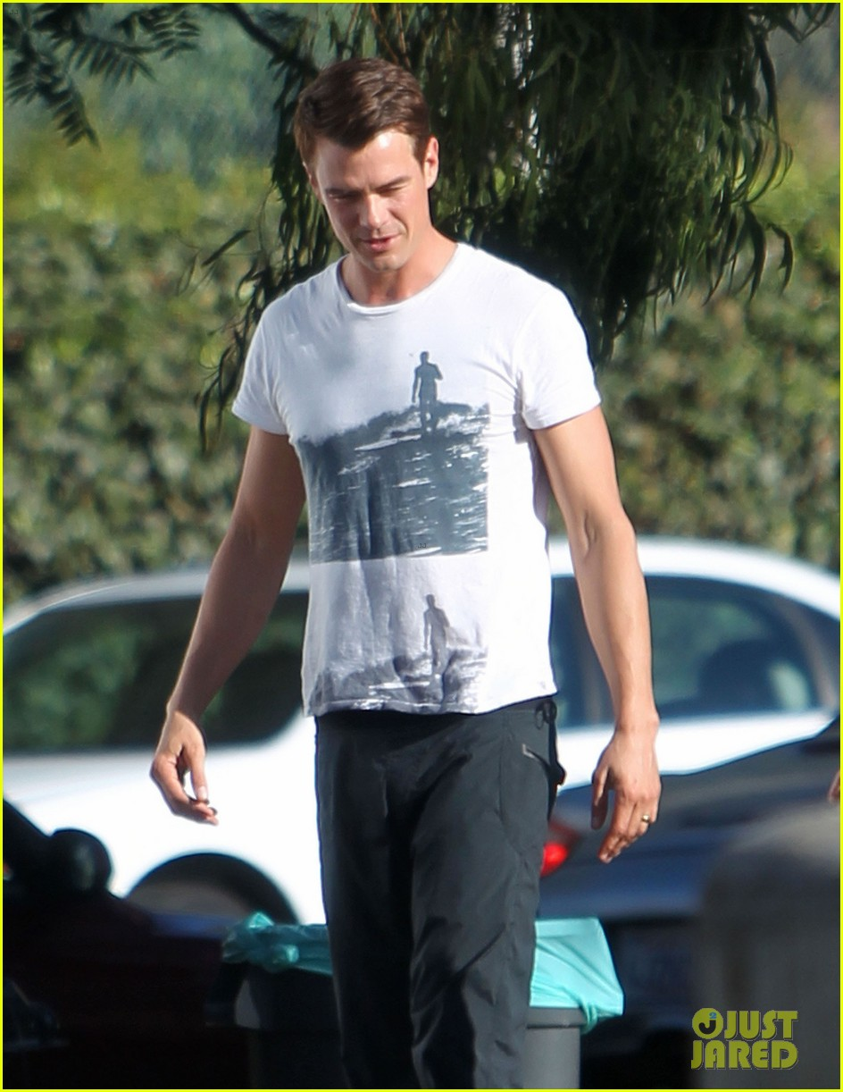 josh duhamel wears i voted sticker on youre not you set 27