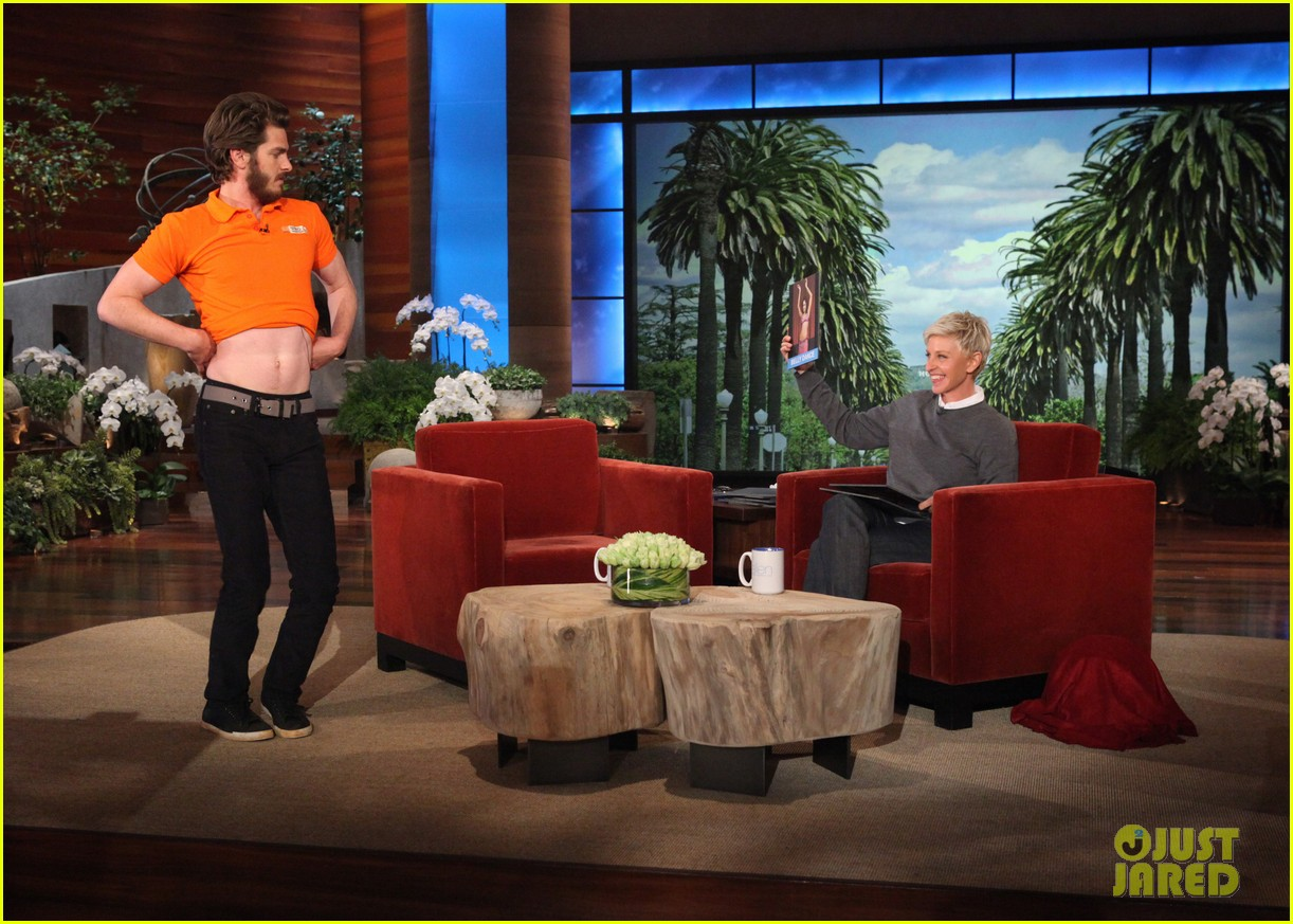 andrew garfield belly dances for charity on ellen 022756399