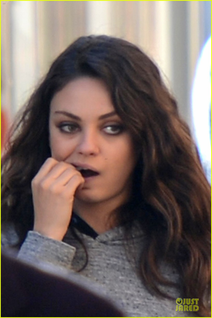 mila kunis teeth cleaning on third person set 302759286