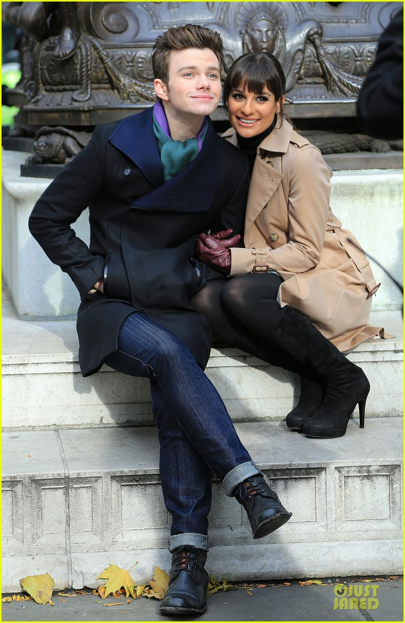 lea michele chris colfer photo moment on glee set 032760134