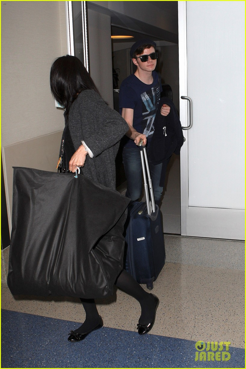 lea michele chris colfer jet to nyc for glee filming 092759761
