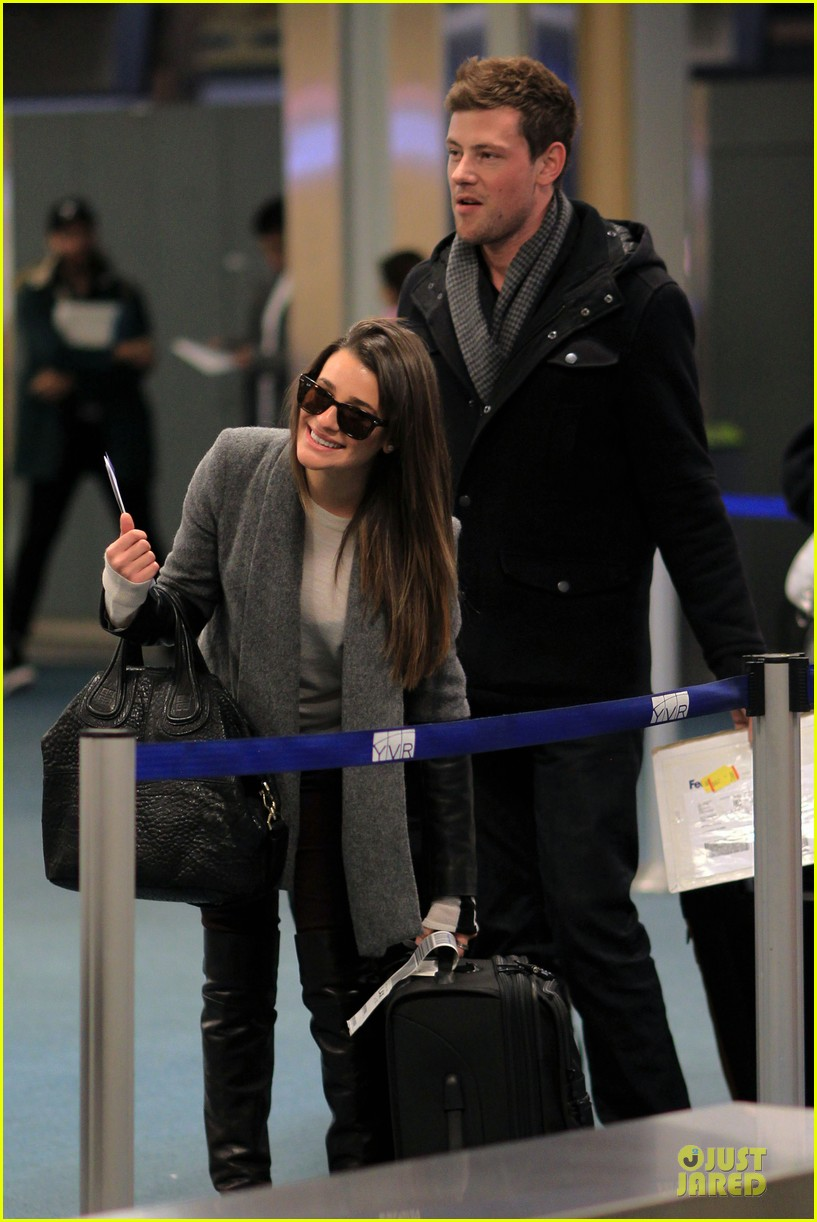 lea michele cory monteith vancouver departing couple 092763873