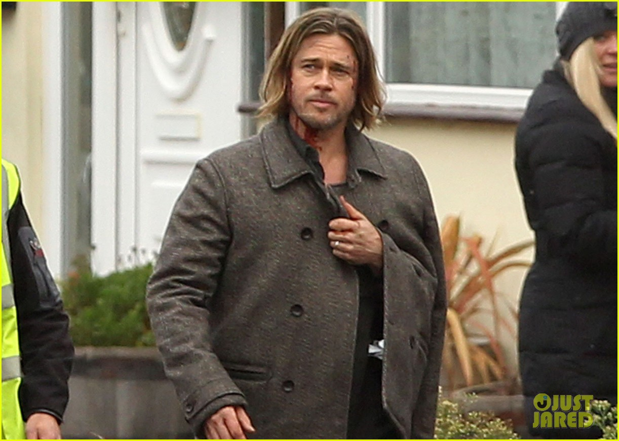 Pictures of Brad Pitt in World War z Brad Pitt World War z Reshoots