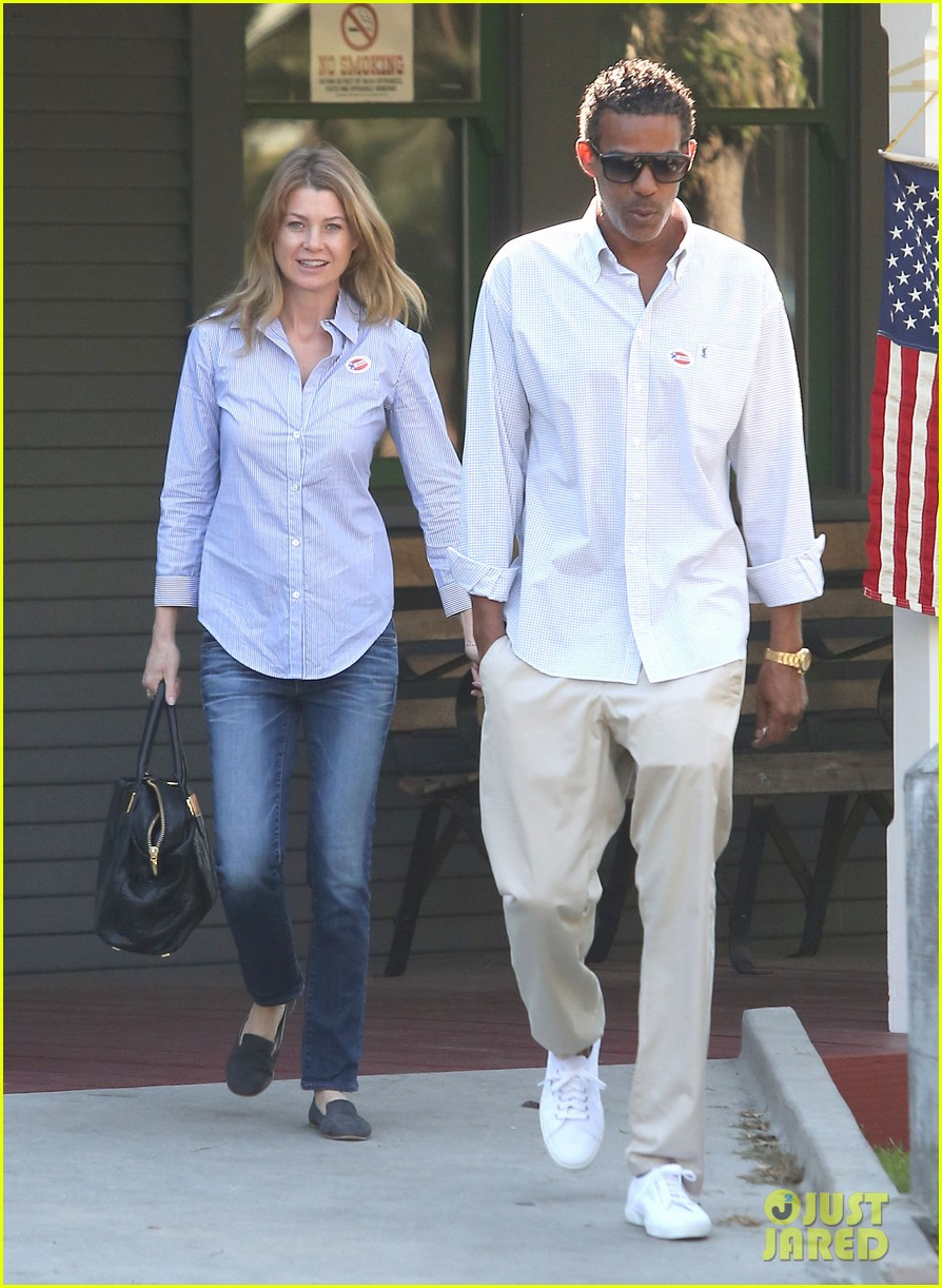 ellen pompeo election day voting with chris ivery 012752142