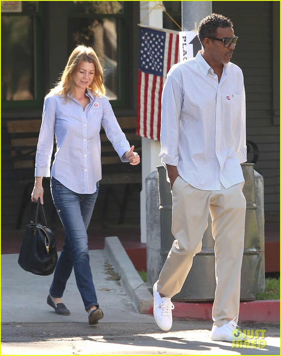 ellen pompeo election day voting with chris ivery 032752144