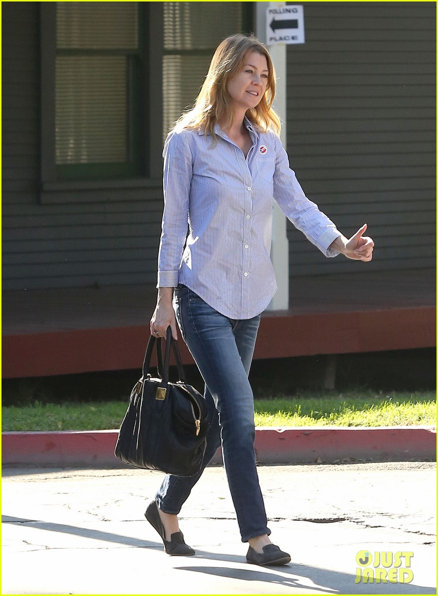 ellen pompeo election day voting with chris ivery 052752146