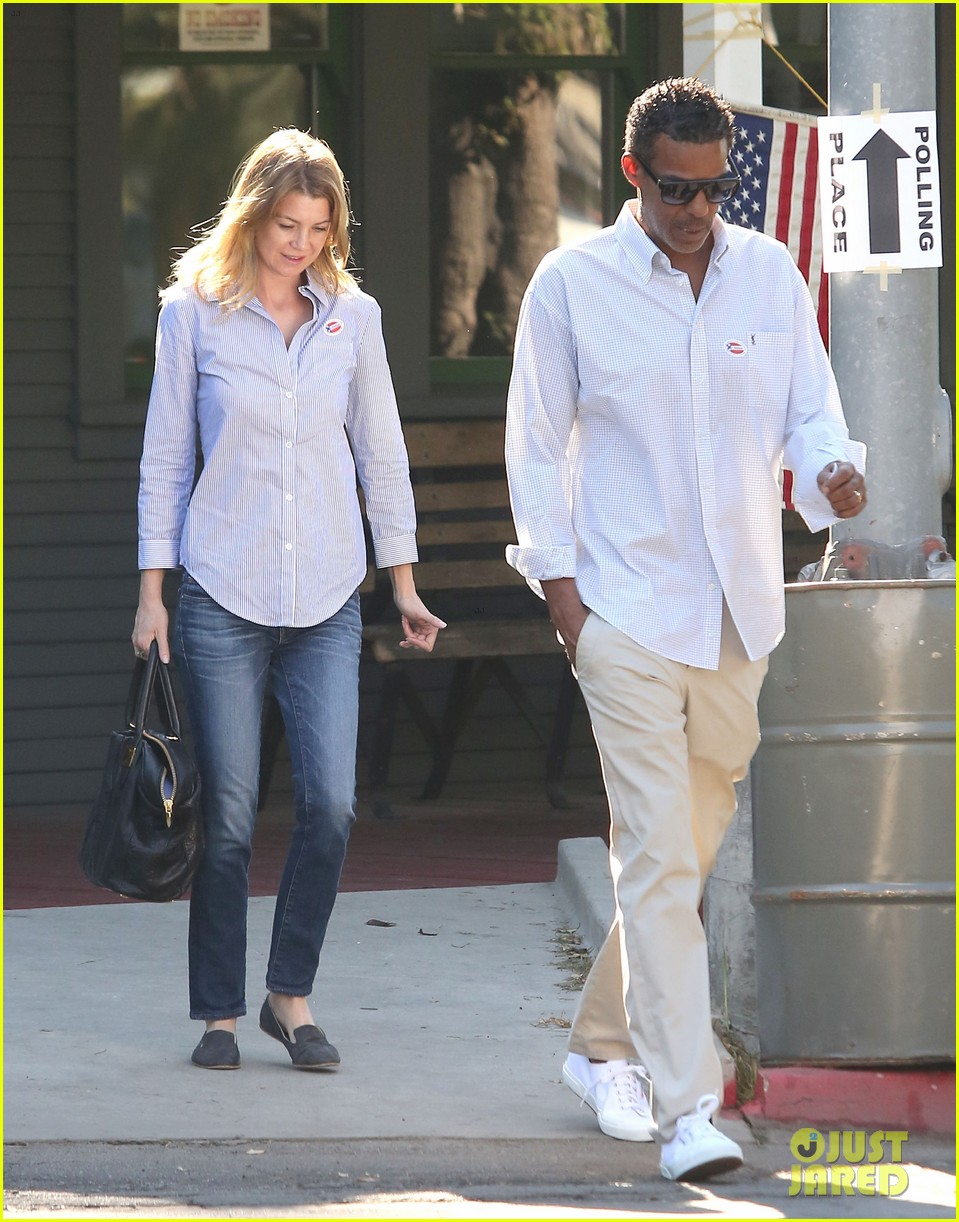 ellen pompeo election day voting with chris ivery 082752149