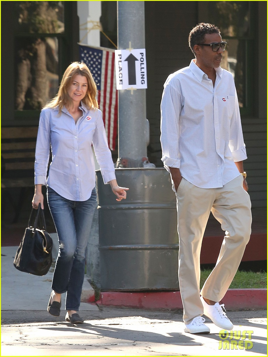 ellen pompeo election day voting with chris ivery 092752150