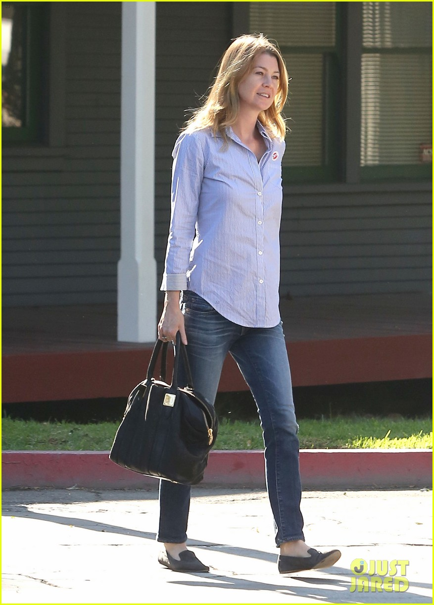 ellen pompeo election day voting with chris ivery 122752153