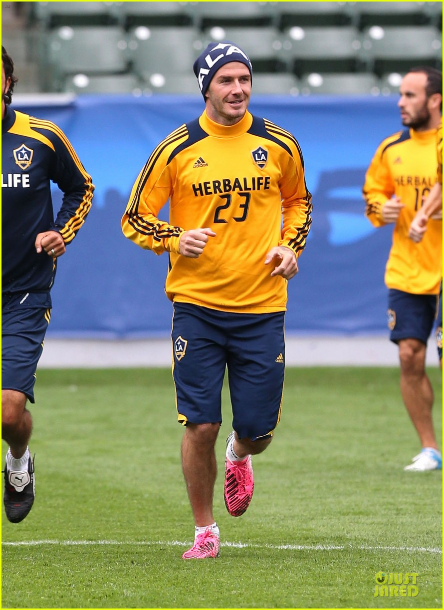 david beckham final galaxy game practice 06