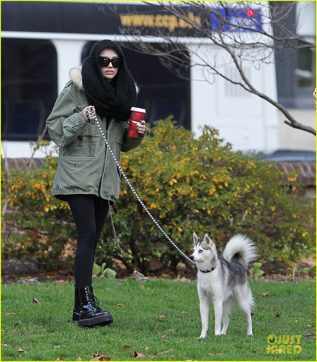 miley cyrus bundles up for philly dog walk 02