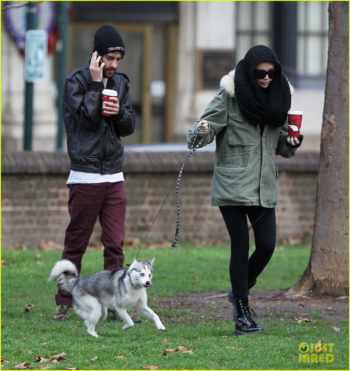 miley cyrus bundles up for philly dog walk 032777931