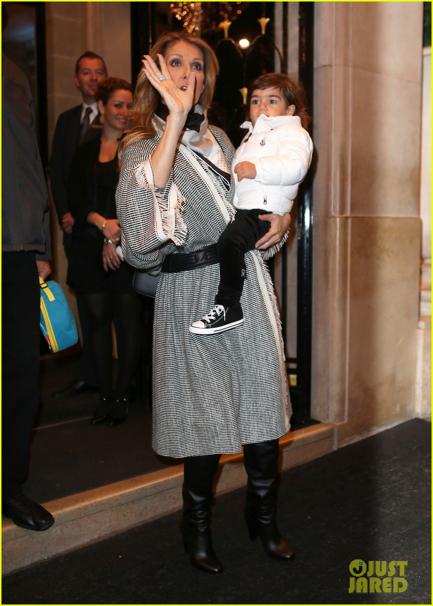 celine dion george v hotel exit with family 12
