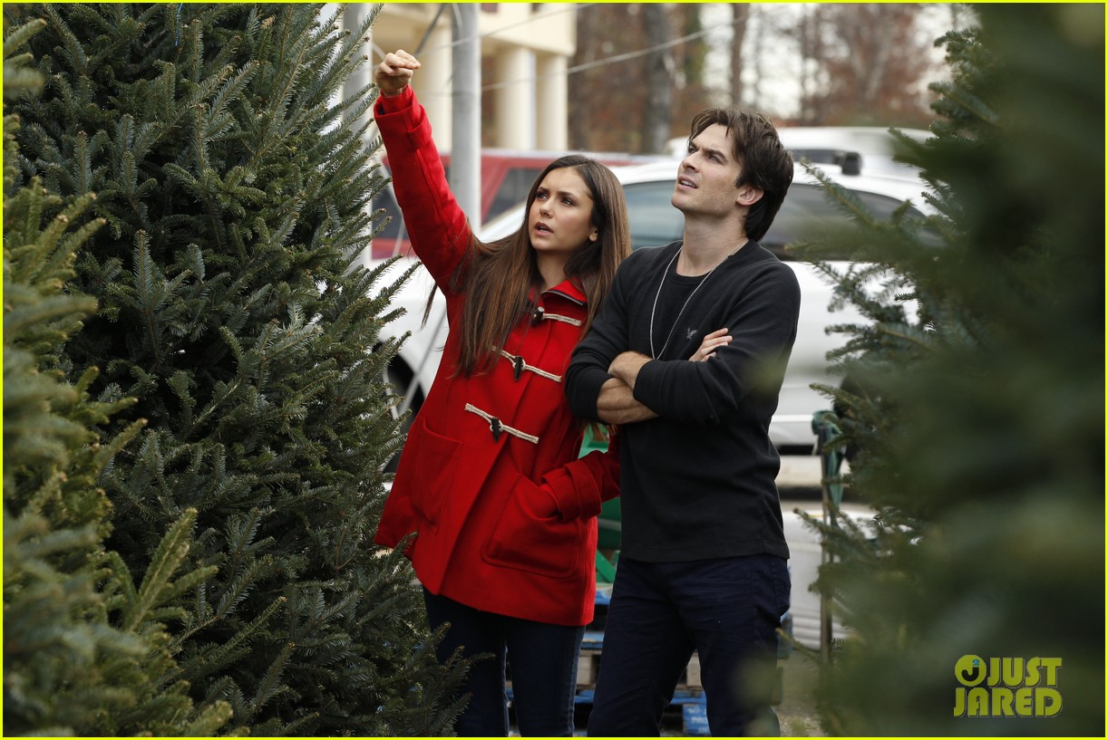 nina dobrev ian somerhalder christmas tree shopping 032769626