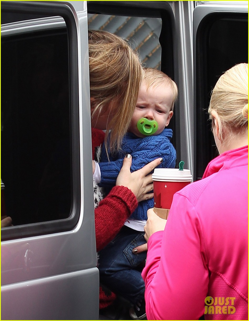 hilary duff babys first class with luca 212775336