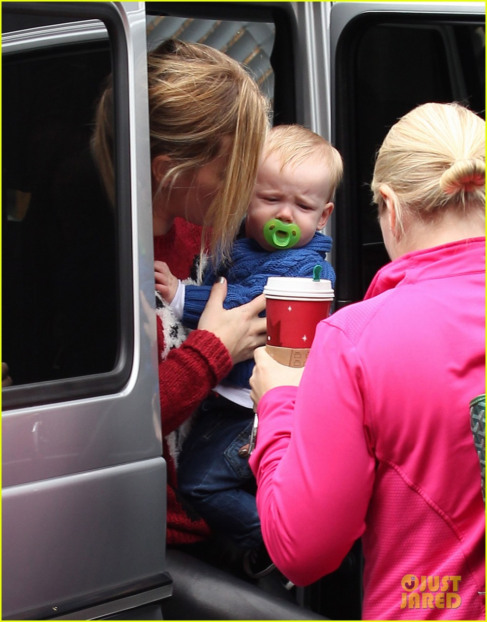 hilary duff babys first class with luca 222775337