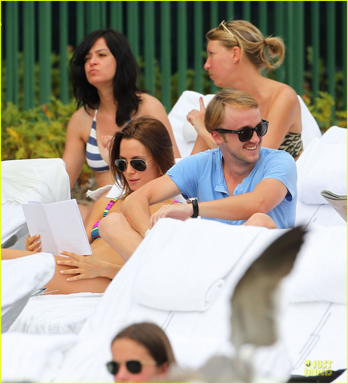 tom felton poolside with jade olivia 04