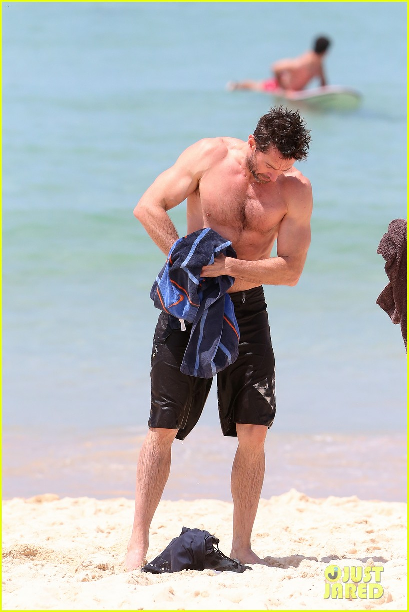 hugh jackman shirtless stud at bondi beach 032778385