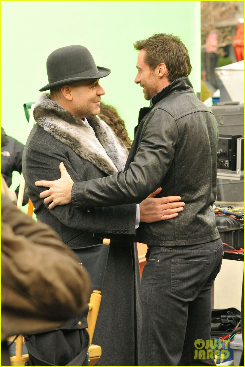 hugh jackman visits russell crowe on winters tale set 062775300