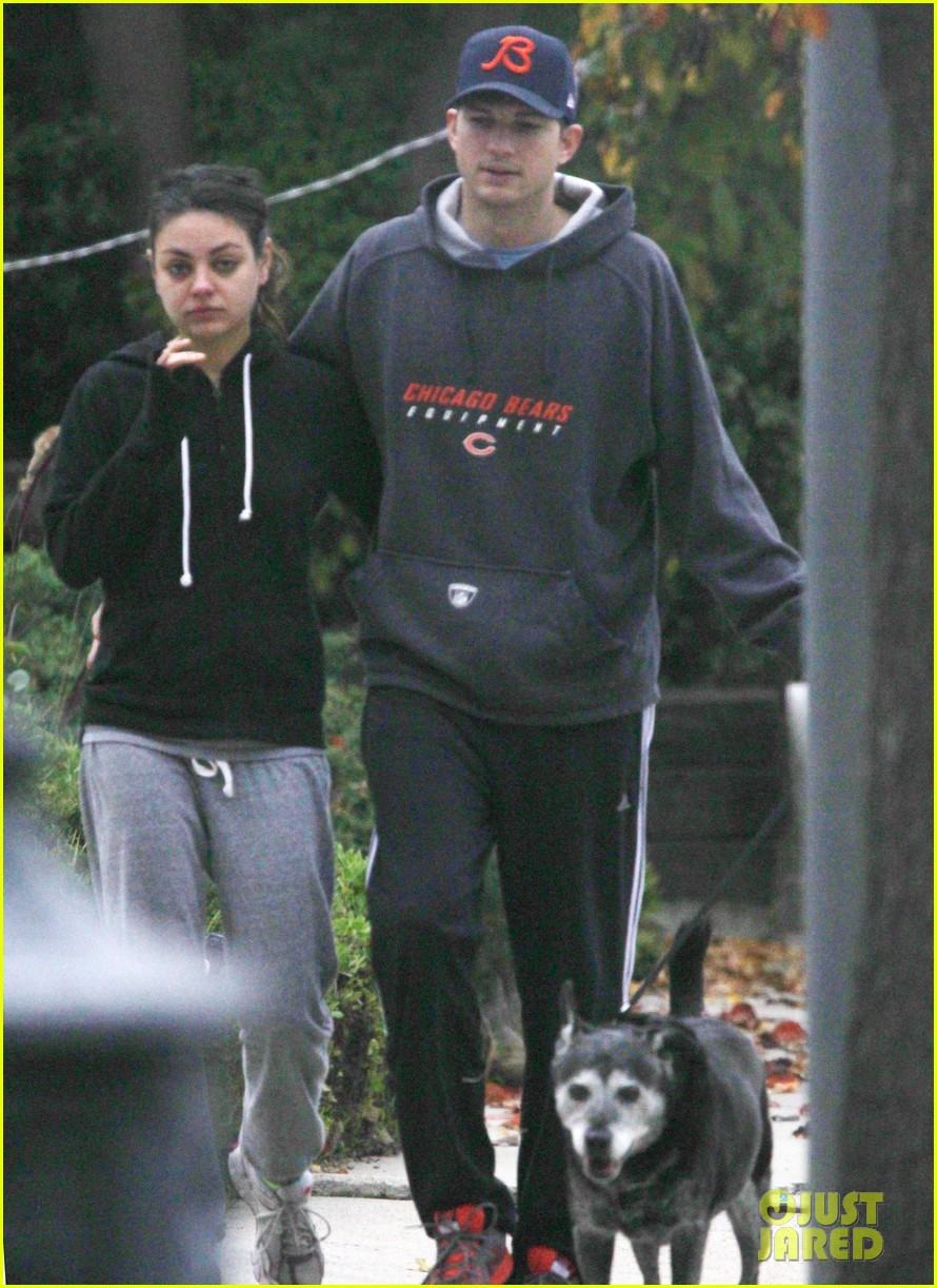 mila kunis ashton kutcher dog walk 112774898