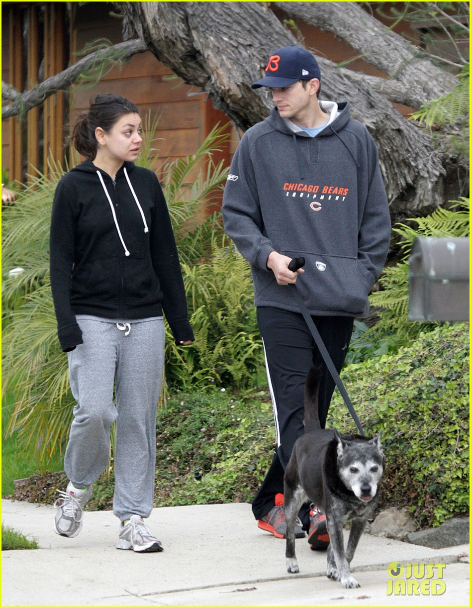 mila kunis ashton kutcher dog walk 132774900