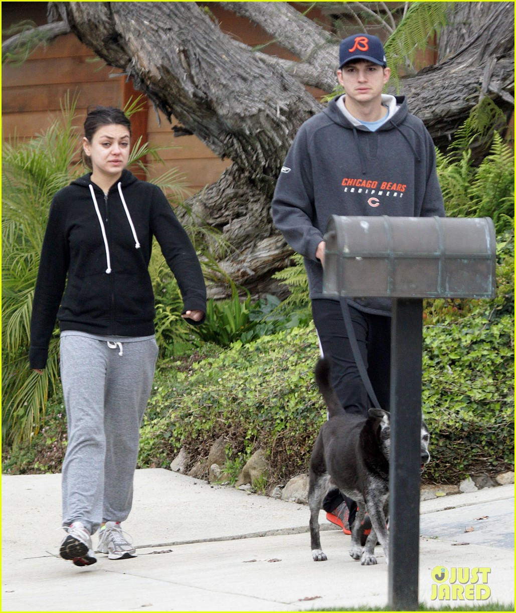 mila kunis ashton kutcher dog walk 152774902