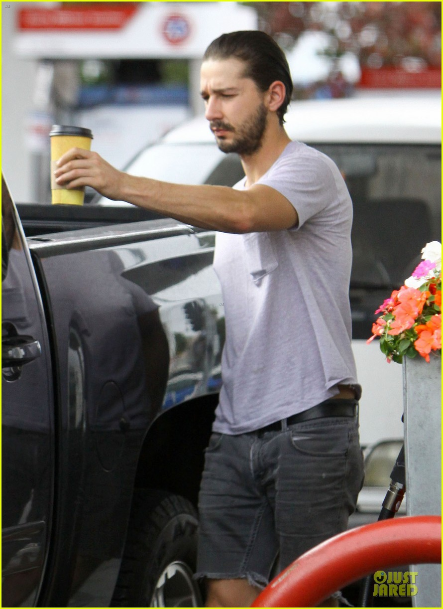 shia labeouf clogs gas station in los angeles 062768103