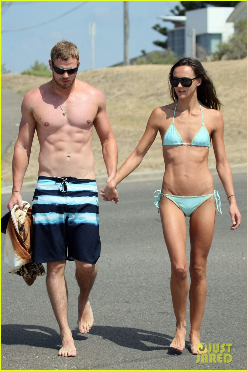 kellan lutz shirtless beach day with sharni vinson 062780293