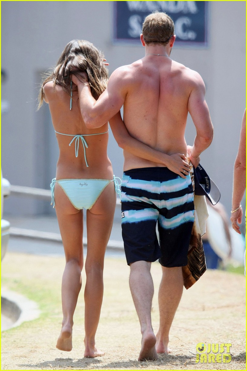 kellan lutz shirtless beach day with sharni vinson 072780294