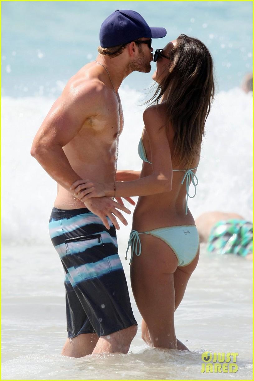 kellan lutz shirtless beach day with sharni vinson 102780297