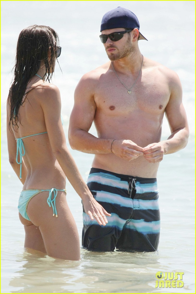 kellan lutz shirtless beach day with sharni vinson 192780306