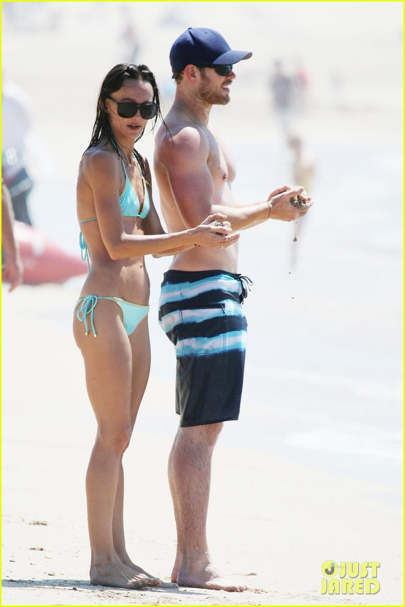 kellan lutz shirtless beach day with sharni vinson 222780309