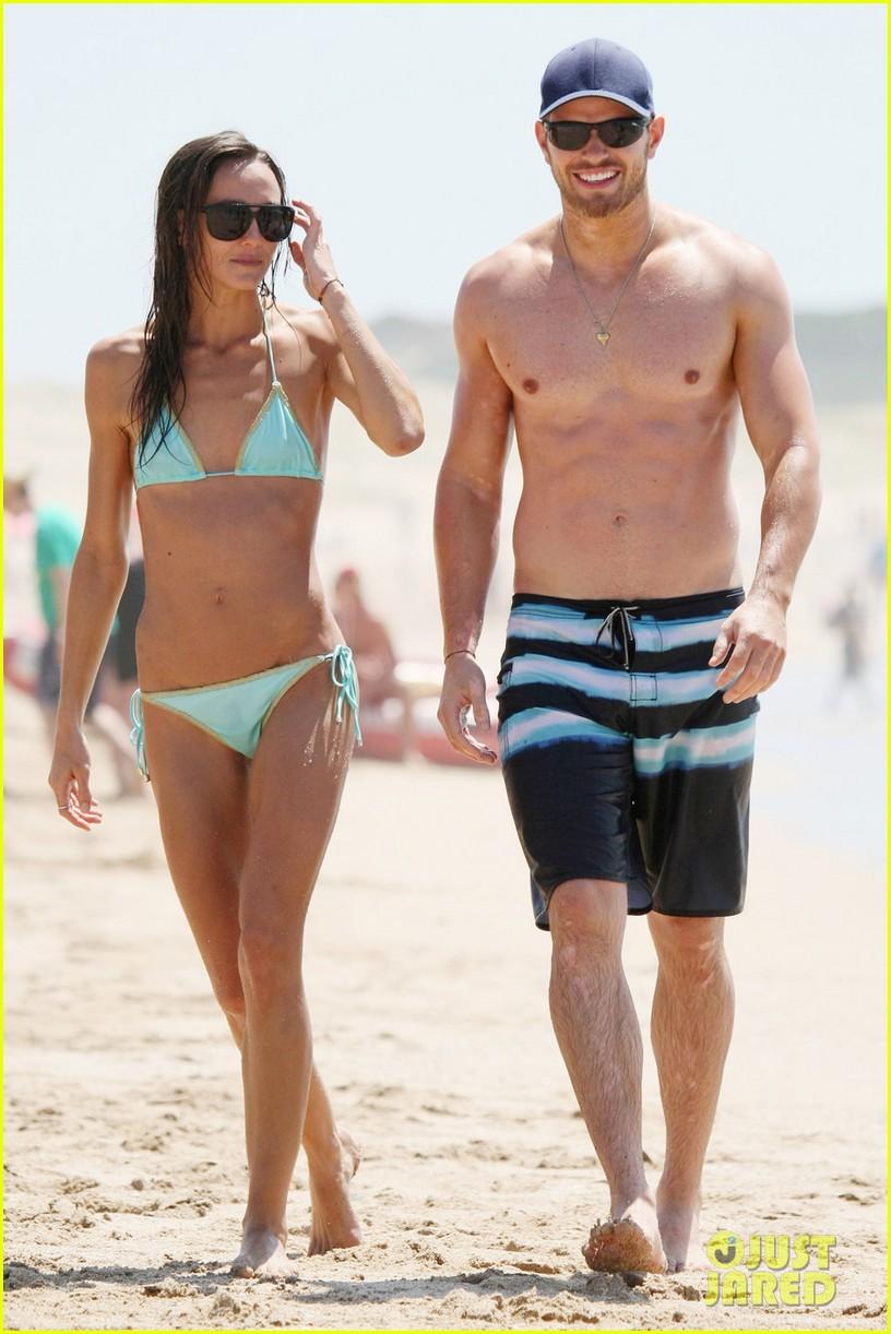 kellan lutz shirtless beach day with sharni vinson 242780311