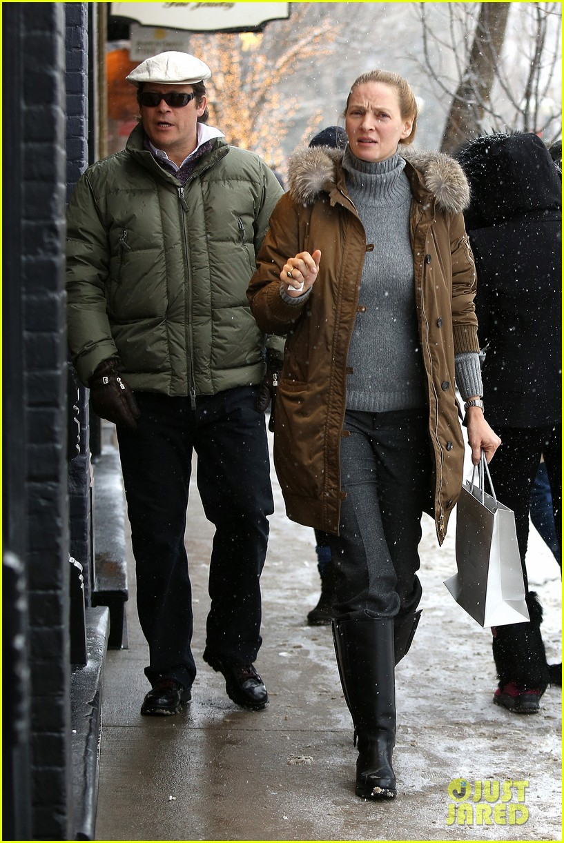 uma thurman arpad busson snow aspen stroll with maya 142780789