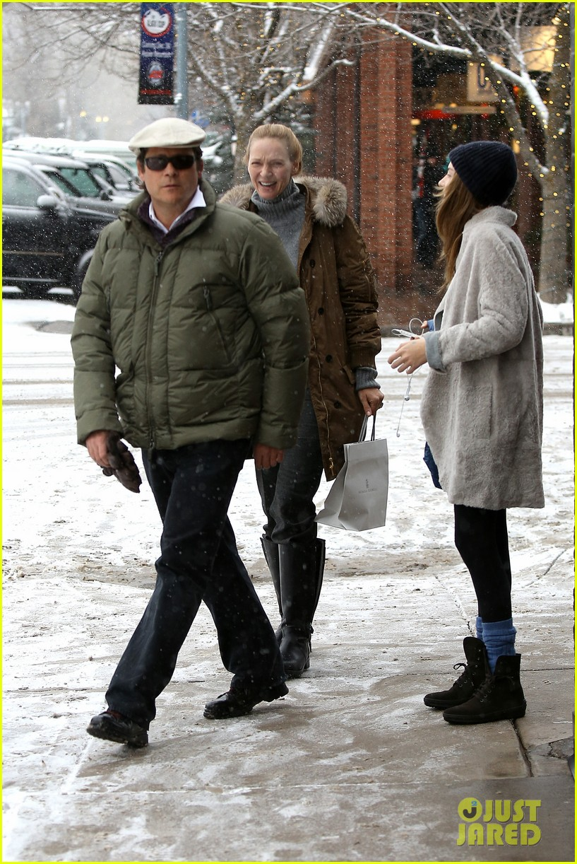 uma thurman arpad busson snow aspen stroll with maya 192780794