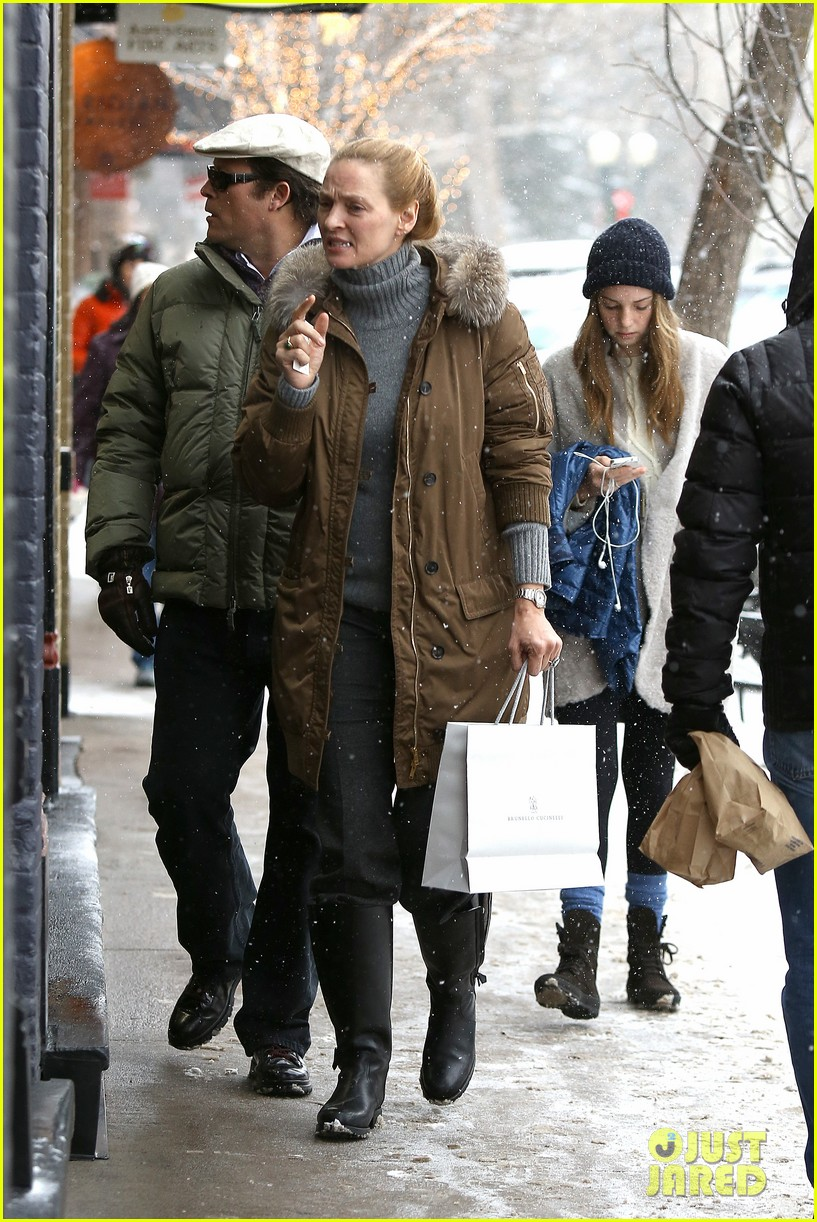 uma thurman arpad busson snow aspen stroll with maya 202780795