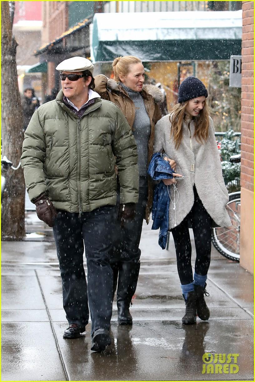 uma thurman arpad busson snow aspen stroll with maya 222780797