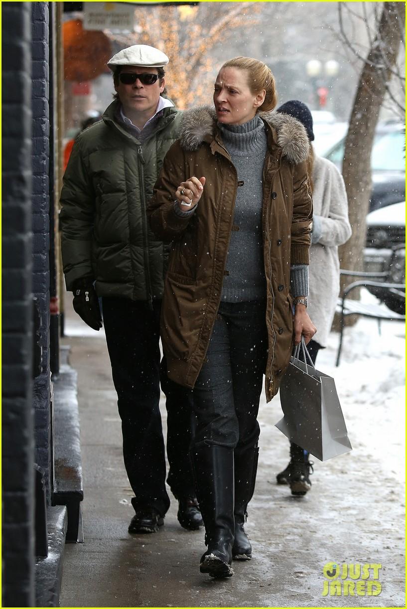 uma thurman arpad busson snow aspen stroll with maya 232780798