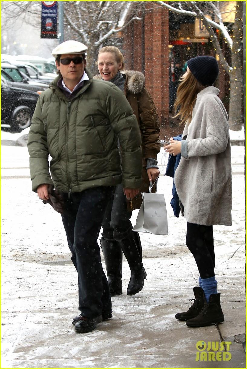 uma thurman arpad busson snow aspen stroll with maya 242780799