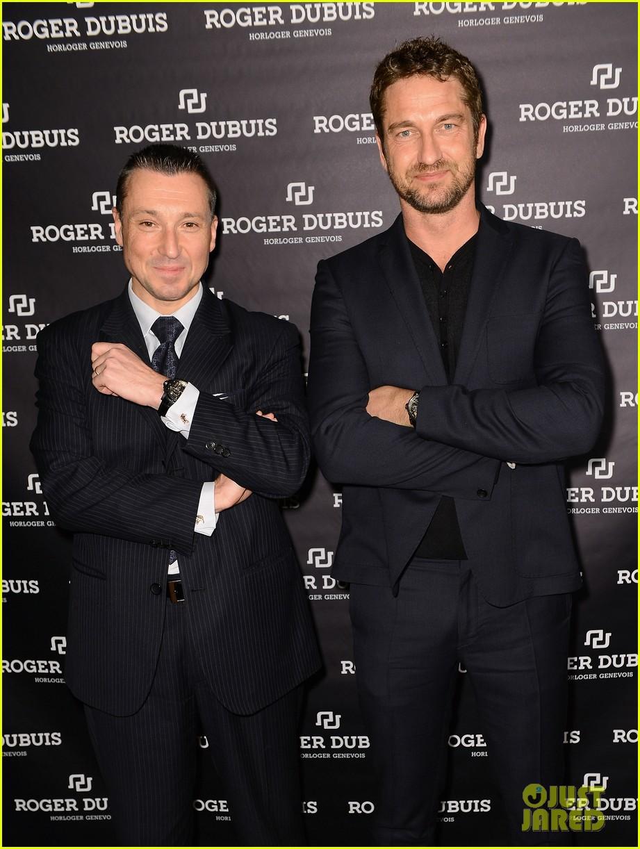 gerard butler roger dubois booth visit in geneva 092796515