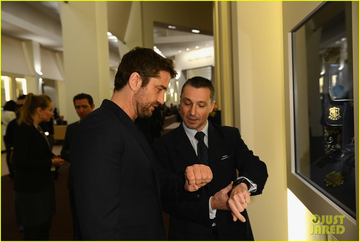 gerard butler roger dubois booth visit in geneva 132796519