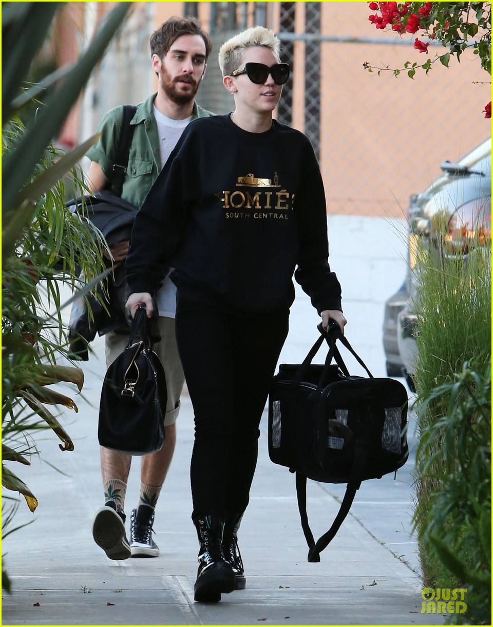 miley cyrus recording studio session with pet pooch bean 102784925